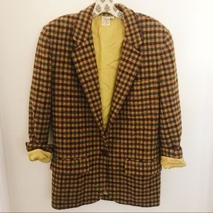 Saks Fifth Avenue Plaid Blazer Jacket Yellow Brown
